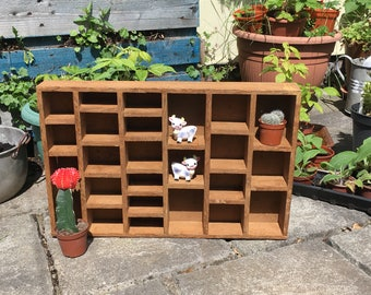 Vintage- Hand Made Wooden Display Unit- Printers Tray Style