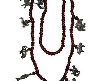 Vintage South American Trade Bead Fetish Necklace