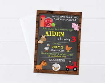 Farm Birthday Invitation, Barnyard Birthday Invite, Farm Invite, Any Age, Farm Animal Birthday Invitation, 4x6 or 5x7 - Printable, Digital