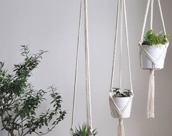 macrame plant hanger, set of 3 hanging planters, hygge decor, modern hanging planter, plant hanger macrame, boho home decor, plant holder