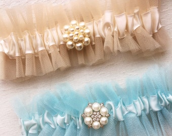 Tulle Garter, something blue, wedding garters. champagne garter, blue garter, pearl garter