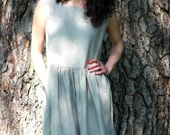 Dress, ruffled dress, linen dress, summer dress, dress, dress one size