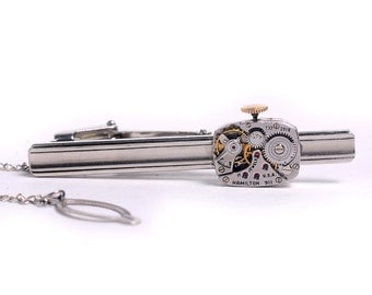 Steampunk 1950's Hamilton Watch Movement Tie Bar Alligator Clip with Chain