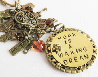 Personalized Hope keychain, beaded keychains, inspirational gift, initial keyring, gift for her, keychain with charms, bronze
