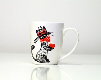 Unique coffee mugs cat mug unique coffee mug gift for mom Illustrate funny mug coffee gift for him - white coffee mug gift ideas