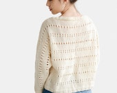 Hand Knit Oversize Bat Sleeve Sweater, Womens Wool Top, Custom Color Sweater, Cream Pullover Top, Open Stitch Sweater