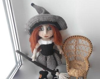 Art doll Witch Doll Crochet Witch Halloween decor Doll Halloween Gift for Halloween decor Stuffed doll Art doll handmade Doll Reborn Doll
