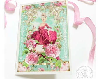 Marie Antoinette card with pink roses and sheep, birthday card, friendship card, blank all occasion card
