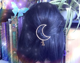 Moon hair clip with planet glyph symbols, in gold or silver finish