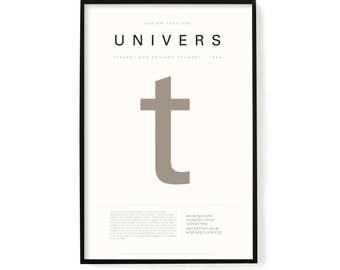"Univers Poster, Screen Printed, Archival Quality, Wall Art, Poster, Designer Gift, Typography Print, 24"" x 36"""