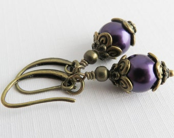 Dark Purple Earrings, Dangle Earrings, Bridesmaid Pearl Earrings, Rustic Jewelry