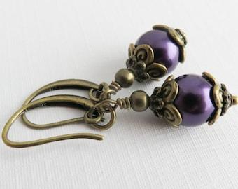Dark Purple Earrings, Dangle Earrings, Bridesmaid Pearl Earrings, Rustic Jewelry