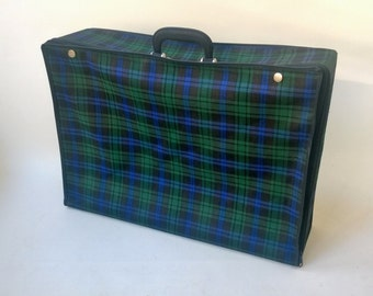 Mid centuries folding canvas suitcase /Tartan luggage /collapsible bag