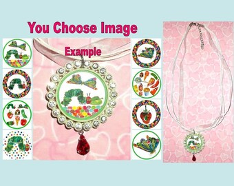 The VERY HUNGRY CATERPILLAR Childrens Rhinestone Ribbon Necklace U Choose Image & Colours Bottlecap Butterfly Food Apple Dot Spot Strawberry