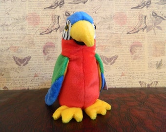 """TY Red And Blue Parrot Beanie Baby """"Jabber"""" (B)"""