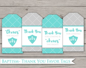 Baptism Favor Tags - LDS Digital Printable Thank You Gift Label Baptismal Party Decor Decorations Grey Teal Blue Boys Girls Gender Neutral