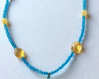Yellow Porcelain and Crystal Necklaces  Handmade and Designed by Andrea Comsky