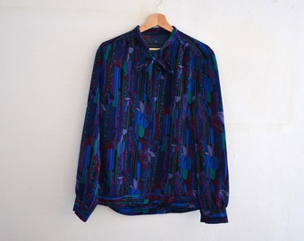 Vintage patchwork shirt  / 80s graphic blouse / Size 44 / handmade