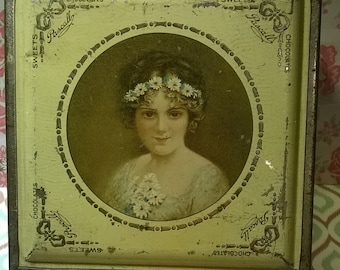 Pascall's Milk Chocolate hinged tin with portrait of lovely young lady