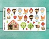 26 Red Riding Hood Stickers / Erin Condren Planner Stickers / Journal Stickers