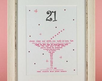 21st Birthday Gift for her, Friend gift, Personalised Gifts for her, Personalized Gifts for women, Friend Birthday, 21st, Twenty First