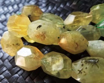 Faceted Tourmalated Green Quartz Nugget Chunky Gemstone Beads