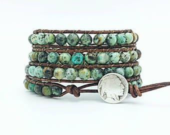 african turquoise leather wrap bracelet, beaded wrap bracelet, gemstone leather wrap bracelet, leather bracelet, boho Indian head jewelry