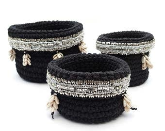 Crochet Shell Basket Set, Boho Storage Basket, Bathroom Storage Basket, Decorative Basket, Black Color