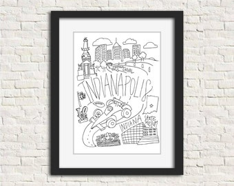 Indianapolis, IN City Black and White Illustration Wall Art Print // 8x10