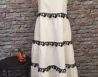 White Linen And Antique Black Lace Maxi Dress   Size Large