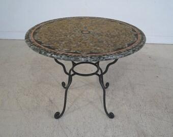 L28687E: Round Mosaic Inlaid Marble Top w. Iron Base