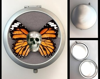 Compact Mirror Day of the Dead Skeleton Butterfly