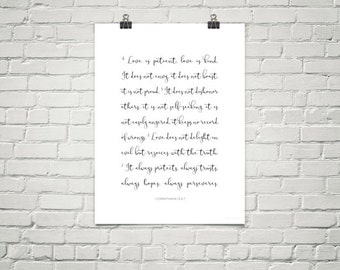 Inspirational Christian Poster - Corinthians 13:4-7 - Love is Patient, Love is Kind...