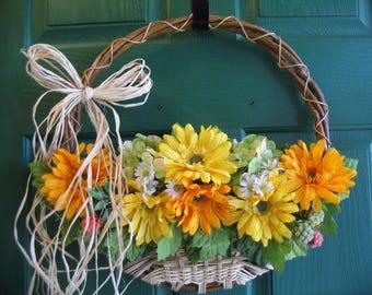 Gerber Daisy Door Basket, Gerber Daisy Wreath, Yellow Daisy Wreath