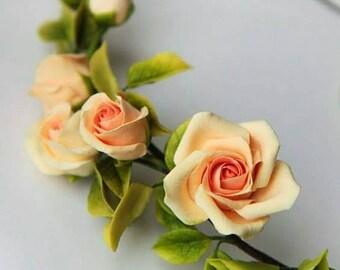 Bridal flower Hair vine Apricot orange rose flower crown Bridal headband Wedding headpiece Peach rose Hair ornament Wedding accessory