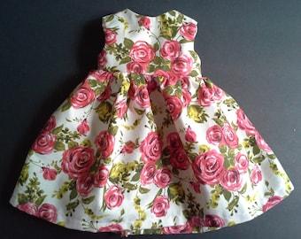 rose doll dress, floral doll dress, rose dress for doll, sleeveless doll dress, 18' doll dress, doll party dress, AG size doll dress