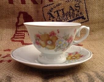 Beautiful Vintage  Tea Cup and Saucer marked Schmidt Porcelain