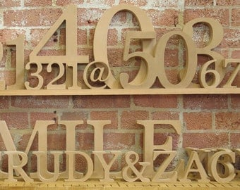 "20cm/8"" Free standing wooden letters and numbers for DIY craft projects"
