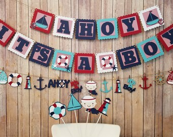 Ahoy It's A Boy Package, Ahoy It's A Boy Banner, Matching Garland and 4 Centerpiece Sticks, Nautical Themed Boy Baby Shower Package