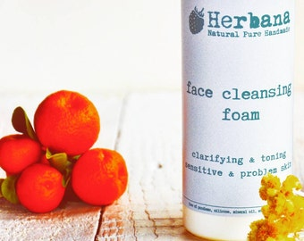 Cleansing Foam, Foaming Face Wash,  Foam Cleanser, Facial Wash, Acne Skin, Sensitive Skin, Purifying, Natural Face Care by HerbanaCosmetics