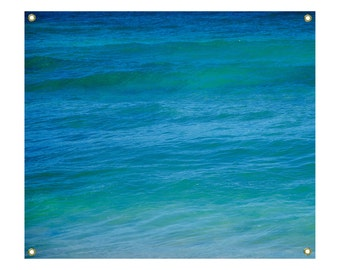 Ocean Wall Tapestry turquoise ocean, deep water, coastal, Hawaii, tropical wall tapestry, wave sea wall hanging, grommets, coastal decor