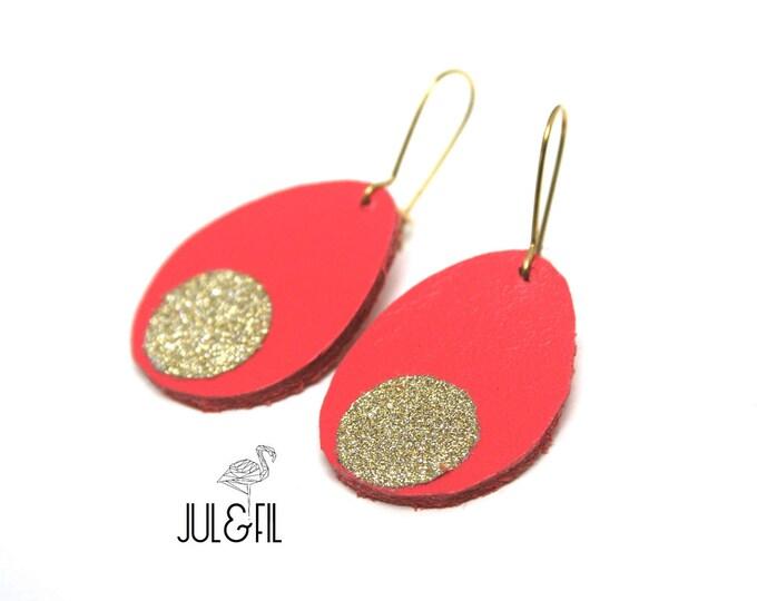 Earrings coral drops, glitter gold, brass