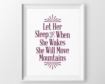 Let Her Sleep Baby Girl Nursery Wall Art Girl Yellow Gray Nursery Quotes Girl Nursery Decor Baby Shower Gift for Newborn Girl Move Mountains