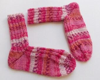 hand-knitted socks, Gr. 36/37 (EU),  rose patterned