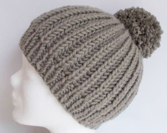 beanie, hat, wooly hat, with pompon, beige, knitted