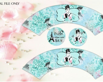 Breakfast at Tiffany's  Cupcake Wrappers with 2 inch cupcake toppers  - Audrey Hepburn - Download,Printable,Treat Wrapper,Party