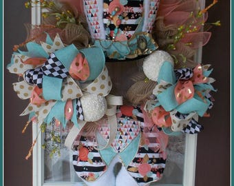 Easter Wreath, Mad Hatter Wreath, Alice In Wonderland Wreath, White Rabbit Wreath, Spring Wreath, Easter Decoration