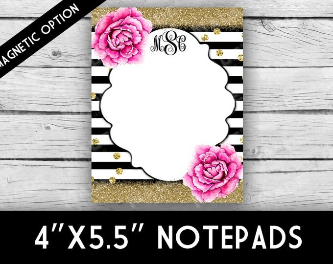 PEONIES MONOGRAM Notepad - Peonies, Stripes, Glitter, Stationery, Printed Stationery, Notepads, Professional Printing