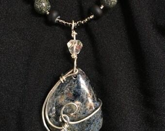Pietersite Pendant Necklace with Swarovski Crystal