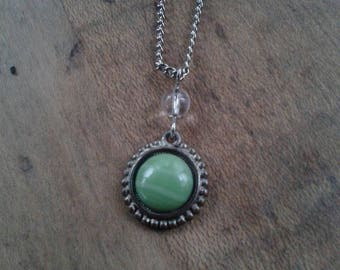 Vintage Necklace Charm Necklace Earthy Green Stone Necklace Upcycled